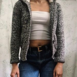 knit grey and white sweater